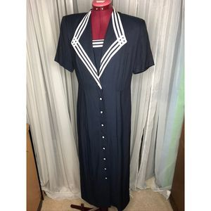 1980s Navy dress with sailor suit details sz 8
